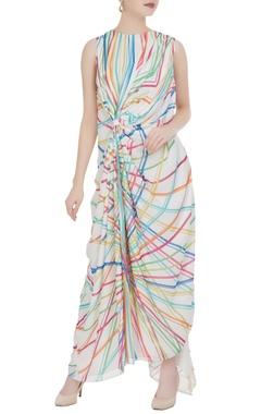 Urvashi Joneja White abstract printed maxi dress