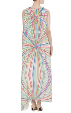 White abstract printed maxi dress