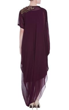 Wine draped style dress