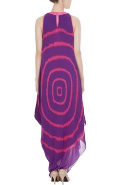 Purple & pink hued dyed asymmetric dress