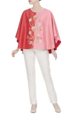 Urvashi Joneja Red & pink raw silk embroidered cape
