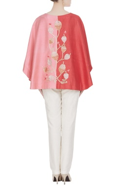 Red & pink raw silk embroidered cape