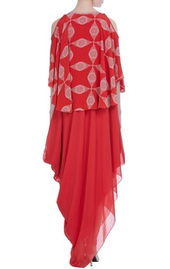 Red draped style maxi dress with cape layer