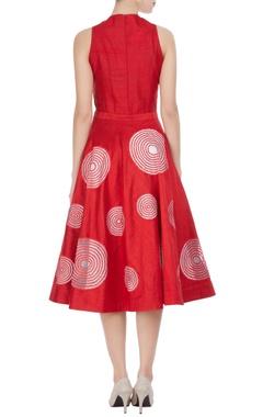 Red & white raw silk midi a-line fit dress