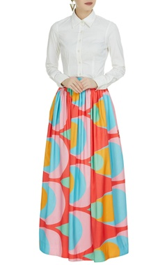 Urvashi Joneja Multi-colored printed flared skirt
