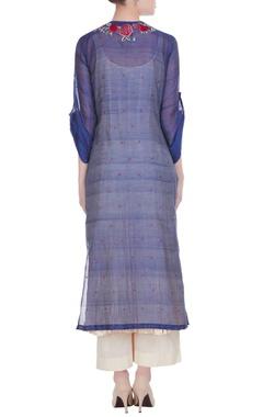 Blue embroidered layered kurta with beige palazzo pants