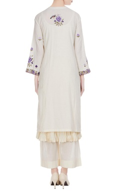 Off-white embroidered knee-length kurta with palazzos