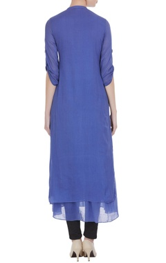 Blue mullmull gold butta embroidered long tunic