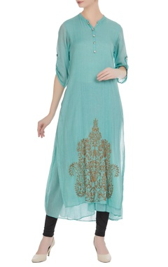 Light blue mullmull gold butta embroidered long tunic