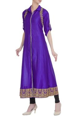Purple cotton silk embroidered long kurta