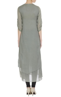 Grey mullmull cut work embroidered long tunic