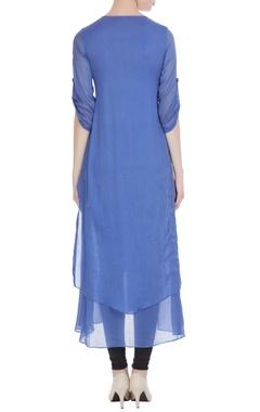 Blue mullmull embroidered yoke long tunic