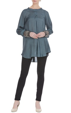 Grey cotton silk embroidered blouse