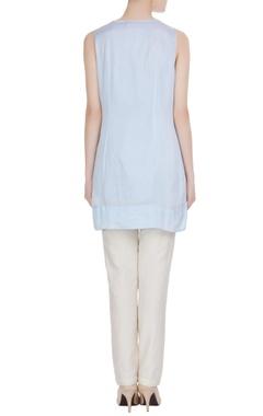 Powder blue cotton satin sleeveless blouse