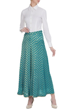 Blue brocade georgette woven palazzos