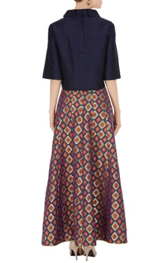 Navy blue solid blouse with ikkat & brocade work skirt