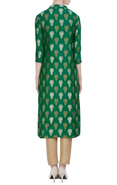 Green brocade work kurta with center waist-high slit