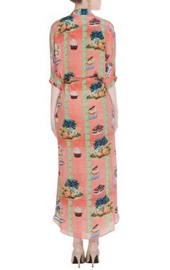 Peach english tea party inspired crepe shirt dress