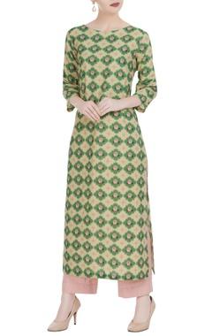 Gold & green rose motif kurta with pants