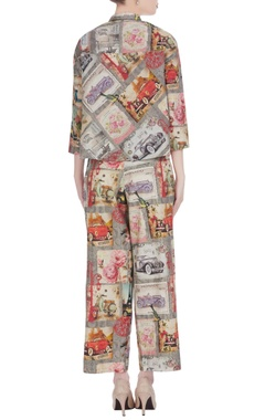 Multicolored english tea party inspired printed pant set