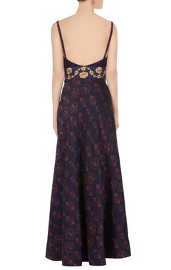Blue boat neckline flared gown