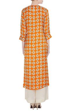 Orange & blue digital printed kurta with palazzos