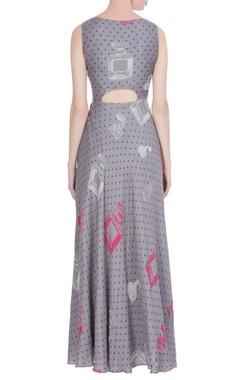 Grey & pink perfume printed maxi dress