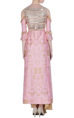 Pink & gold cold-shoulder jacket with dhoti skirt
