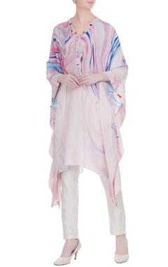 Multicolored marbella printed asymmetric tunic