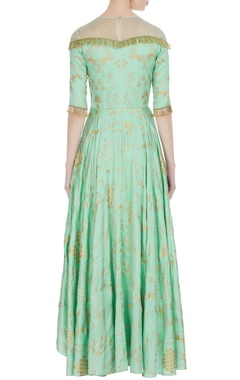 Green dupion silk & net hand embroidered gown