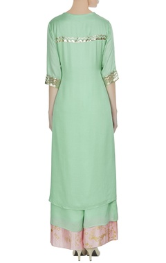 Green & pink dupion silk kurta set