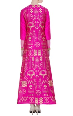 Pink raw silk gold printed jacket