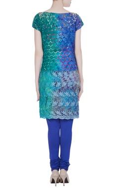 Blue & green lace kurta with churidar & dupatta