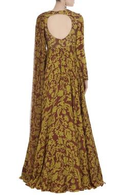 Mustard & maroon chiffon & crepe silk draped style gown