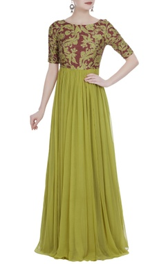 Mrunalini Rao Maroon & olive green chiffon embellished maxi dress
