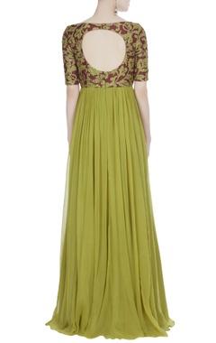 Maroon & olive green chiffon embellished maxi dress