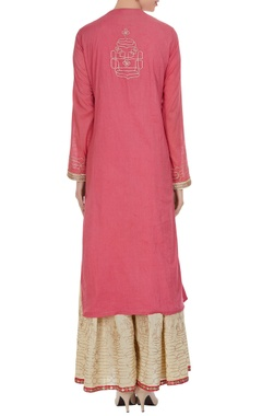 Peach & beige cotton toi machine work kurta with palazzo pants & dupatta