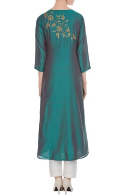 Teal green poly fabric machine embroidered a-line kurti