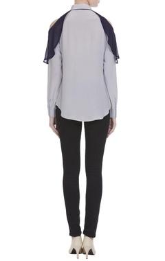 Icy blue crepe silk cold-shoulder blouse