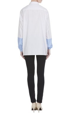 White & blue pure cotton long sleeve shirt