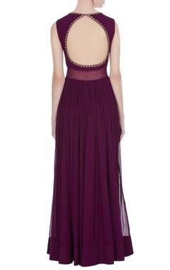 Purple dabka work georgette anarkali gown
