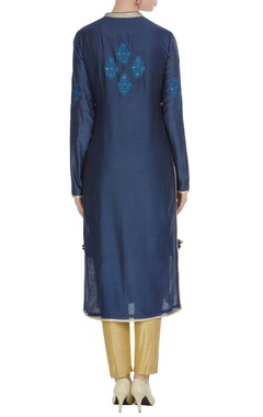 Navy blue chanderi butta embroidered knee-length kurta