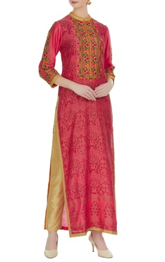 RAR Studio Lotus pink chanderi block print long kurta