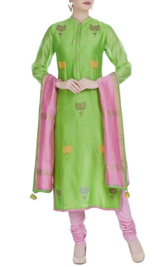 RAR Studio Green chanderi flower embroidered straight kurta with pink churidar & dupatta