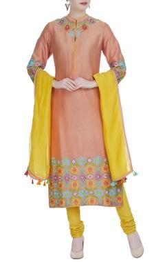 RAR Studio Peach chanderi hand & machine embroidered straight kurta with yellow churidar & dupatta