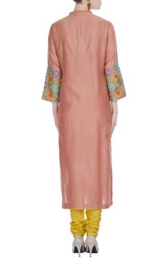 Peach chanderi hand & machine embroidered straight kurta with yellow churidar & dupatta