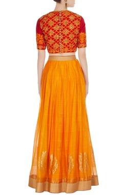 Yellow chanderi mughal buta embroidered lehenga with pink blouse & dupatta