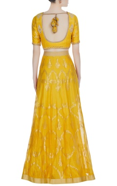 Yellow chanderi woven & mughal jaal embroidered lehenga with blouse & dupatta