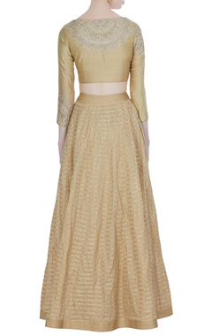 Beige chanderi striped lehenga with embroidered blouse & dupatta