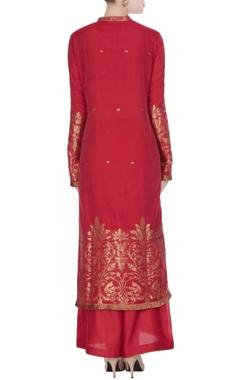 Red woven chanderi kurta set